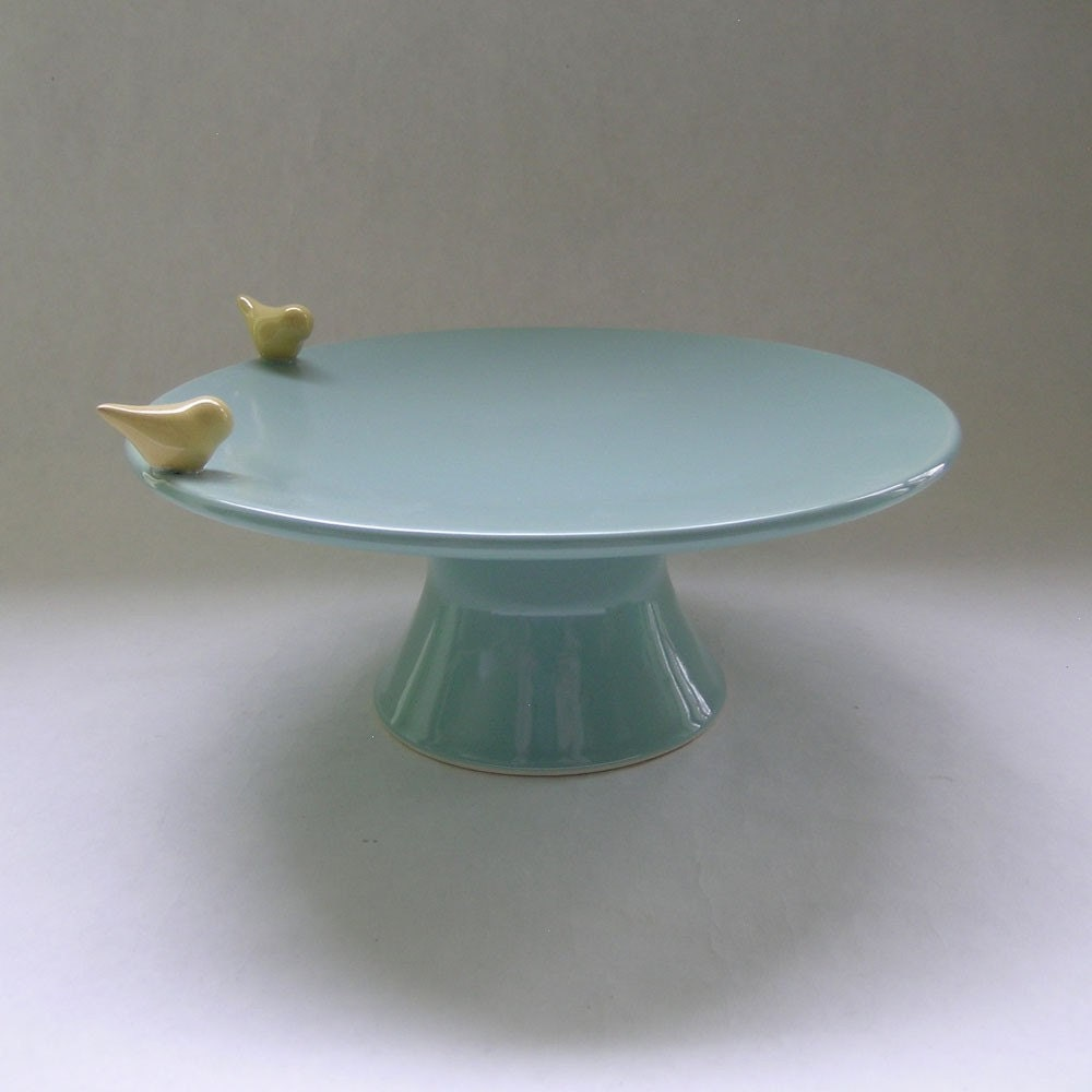 Med Bird Ceramic Cake Stand in Robin Egg Blue with Yellow Birds