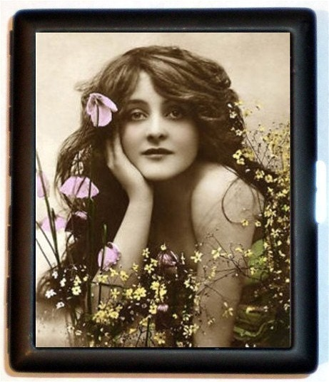 Nouveau Beautiful Woman with Long Flowing Hair and Flowers Everywhere