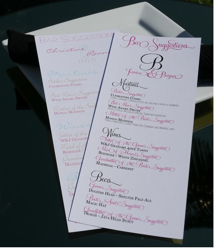 1 8x10 Wedding or Event Bar Suggestion Menu From BesoDesigns