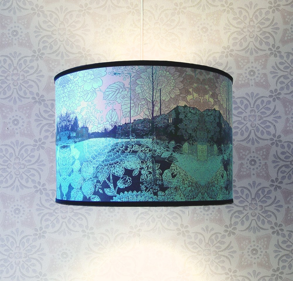 New Medium Size Lampshade - Pale Blue Suburban Dream.
