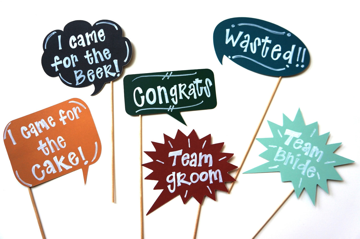 Chalkboard Photo Booth Props on a stick - Set of 6 Chalk Board Photobooth Props - Fun for Parties, Weddings - Includes Chalk