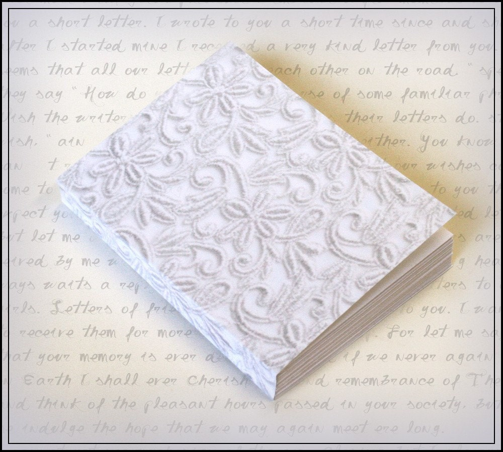 Jot  Scribble  Doodle   White Lace Photo  Blank Paper Journal