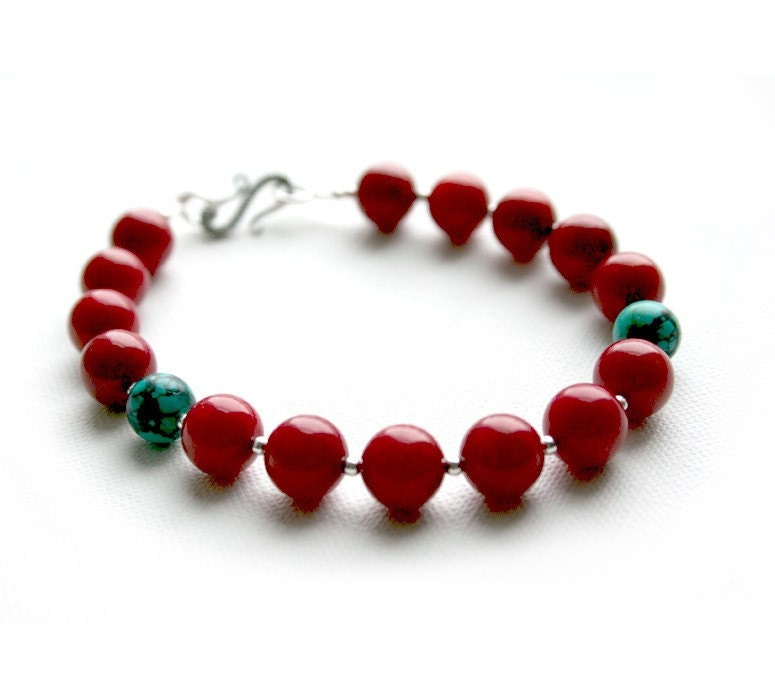 Coral, Turquoise and Silver Bracelet
