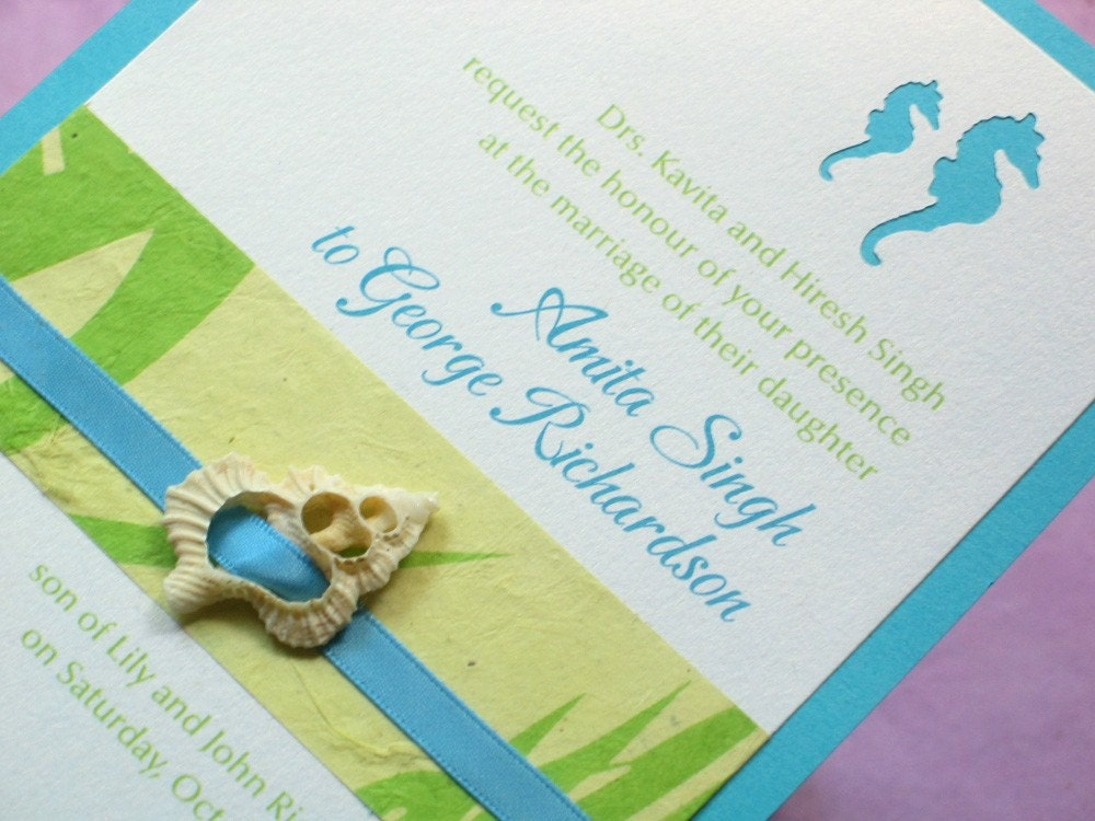 Beach Wedding Invitation Sample Diecut Seahorse With By CoolHot