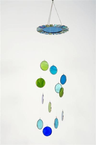 Gilat big glass mobile - green and blue