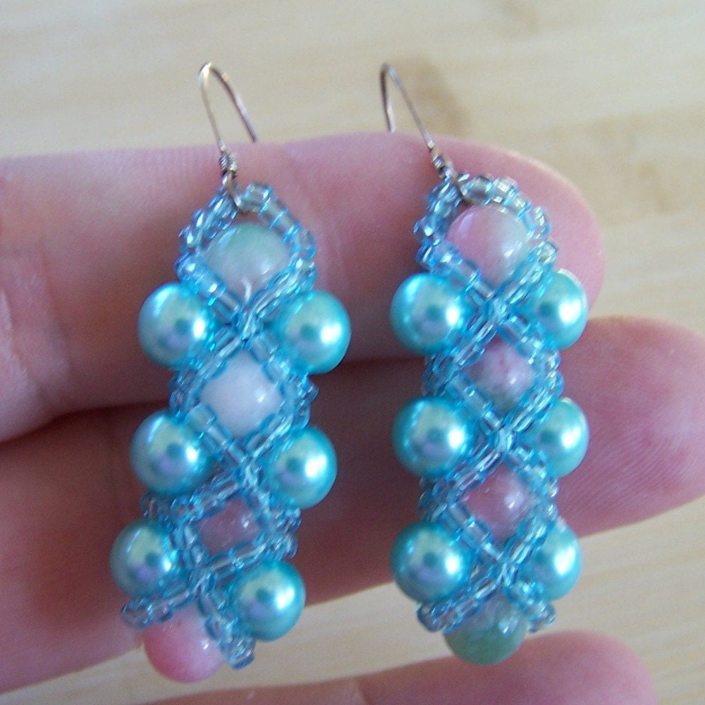 Pearl and Candy Jade Earrings GME0001 by GrandmaMarilyns on Etsy