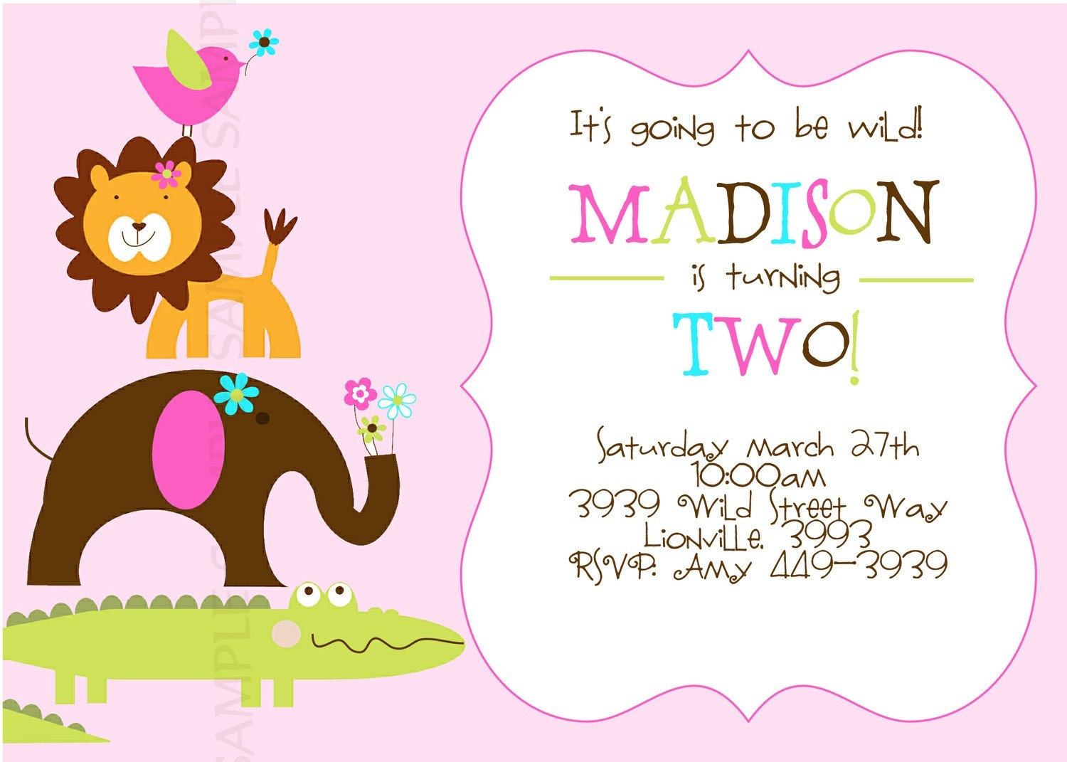 WILD PARTY Safari/Zoo/Jungle theme for GIRL Invitation.Photo or no photo option. Baby Shower or Birthday Party
