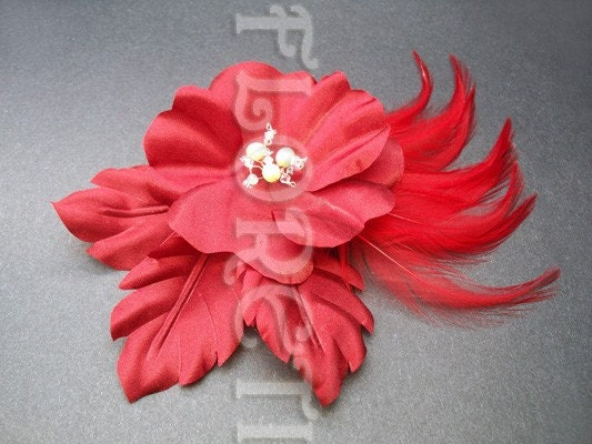 Couture Deep Red Rose Silk Flower Bridal Fascinator Hair Clip Head Wear from etsy.com