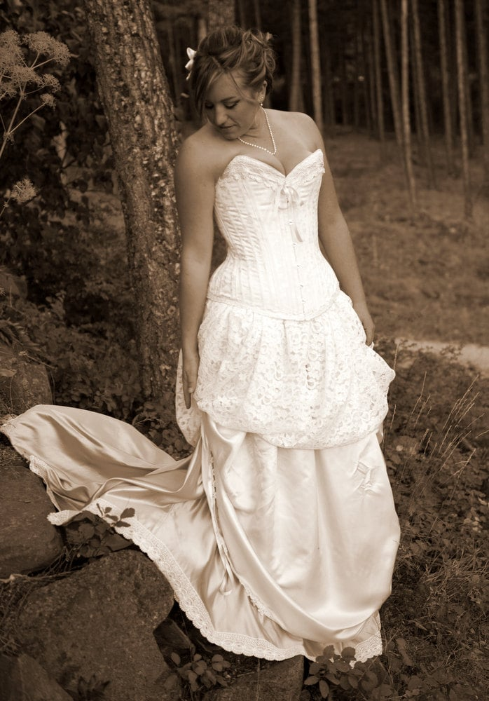 Items similar to victorian wedding gown lace dress for Victorian corset wedding dresses