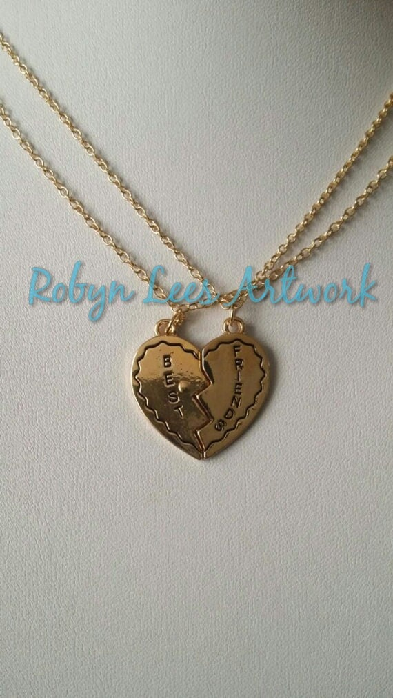 Best Friend Rose Gold Heart Friendship Valentines Necklace Set of 2 Necklaces Twin Peaks Laura Palmer Costume