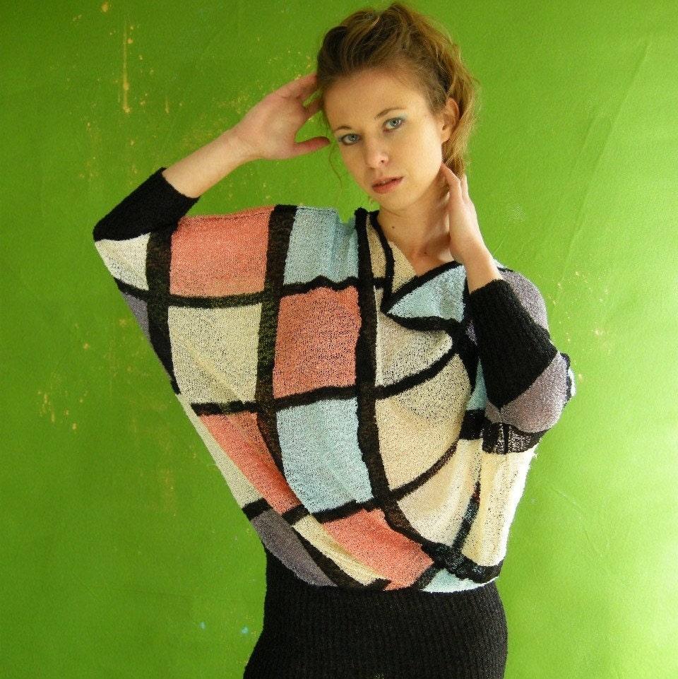 Asymmetrical Batwing Vintage 80s Sweater Dress Top by empressjade