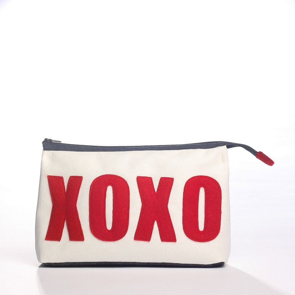 XOXO accessory pouch from eco-friendly materials - alexandraferguson