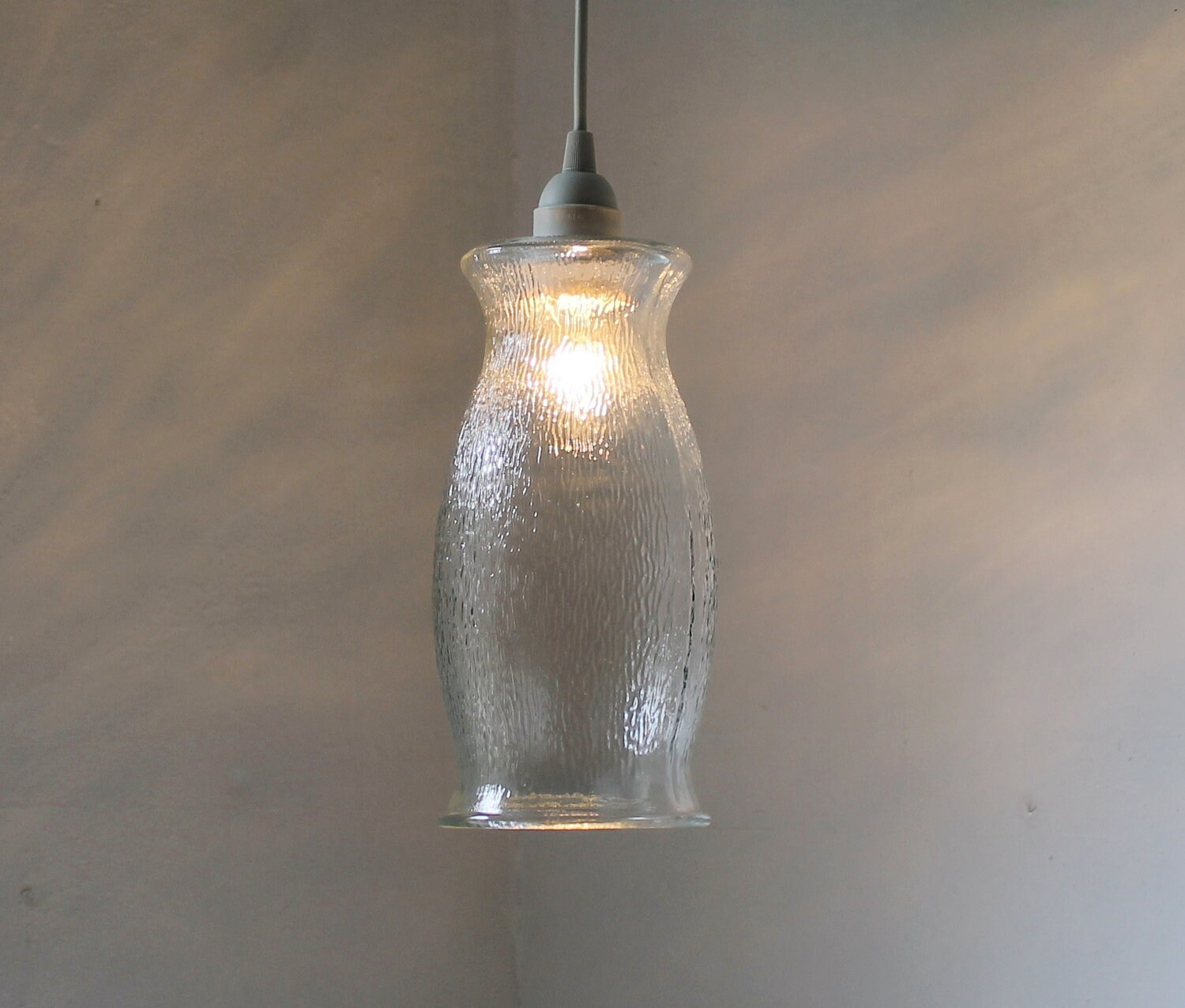 ICICLE Hanging Pendant Lamp Upcycled Vintage Clear By