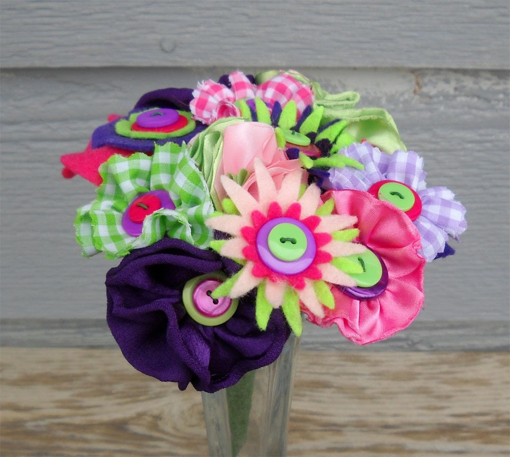Gingham Fabric Button Bouquet Flower Girl Toss Pink Lime Purple