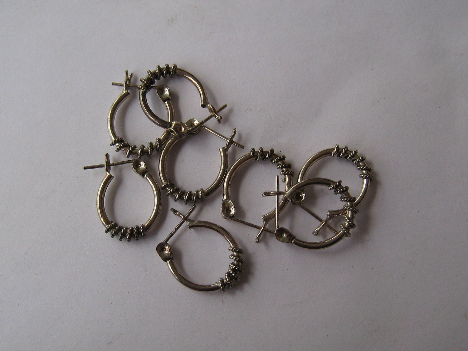 Sterling Silver ,wrapped design, Earwires per pair (E53)