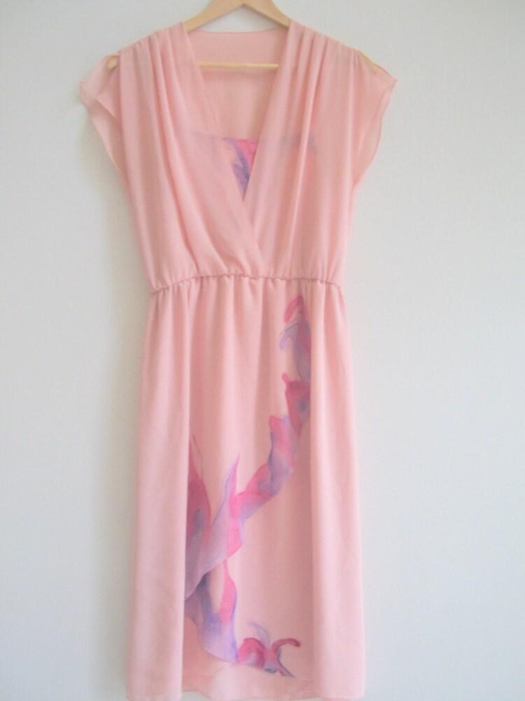 AJ Bari Soft Pink Feminine Flutter Dress with Fuschia & Purple Watercolor Design  Size Small 6/8  FREE SHIPPING