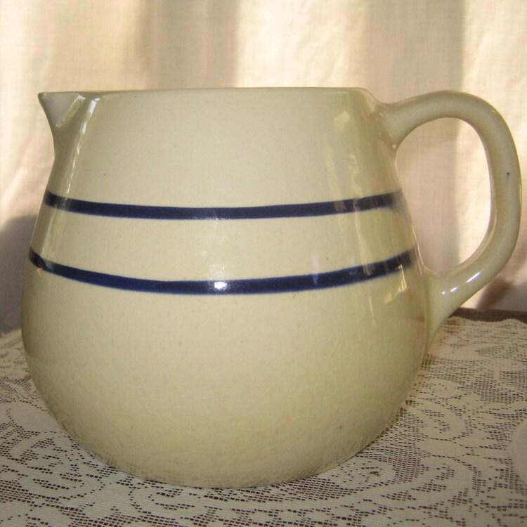 Vintage Circa 1880 Yelloware Lemonade Pitcher