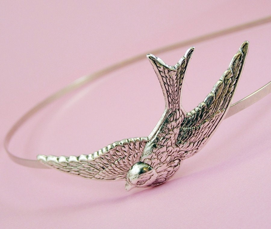 Bird headband swallow silver