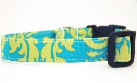 Aqua and Avocado Damask - Adjustable Dog Collar - Sizes XS to XL Available