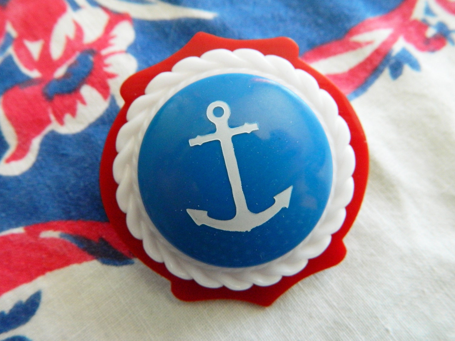 Brooch Vintage Retro Red White & Blue Nautical Anchor - Maiden Voyage