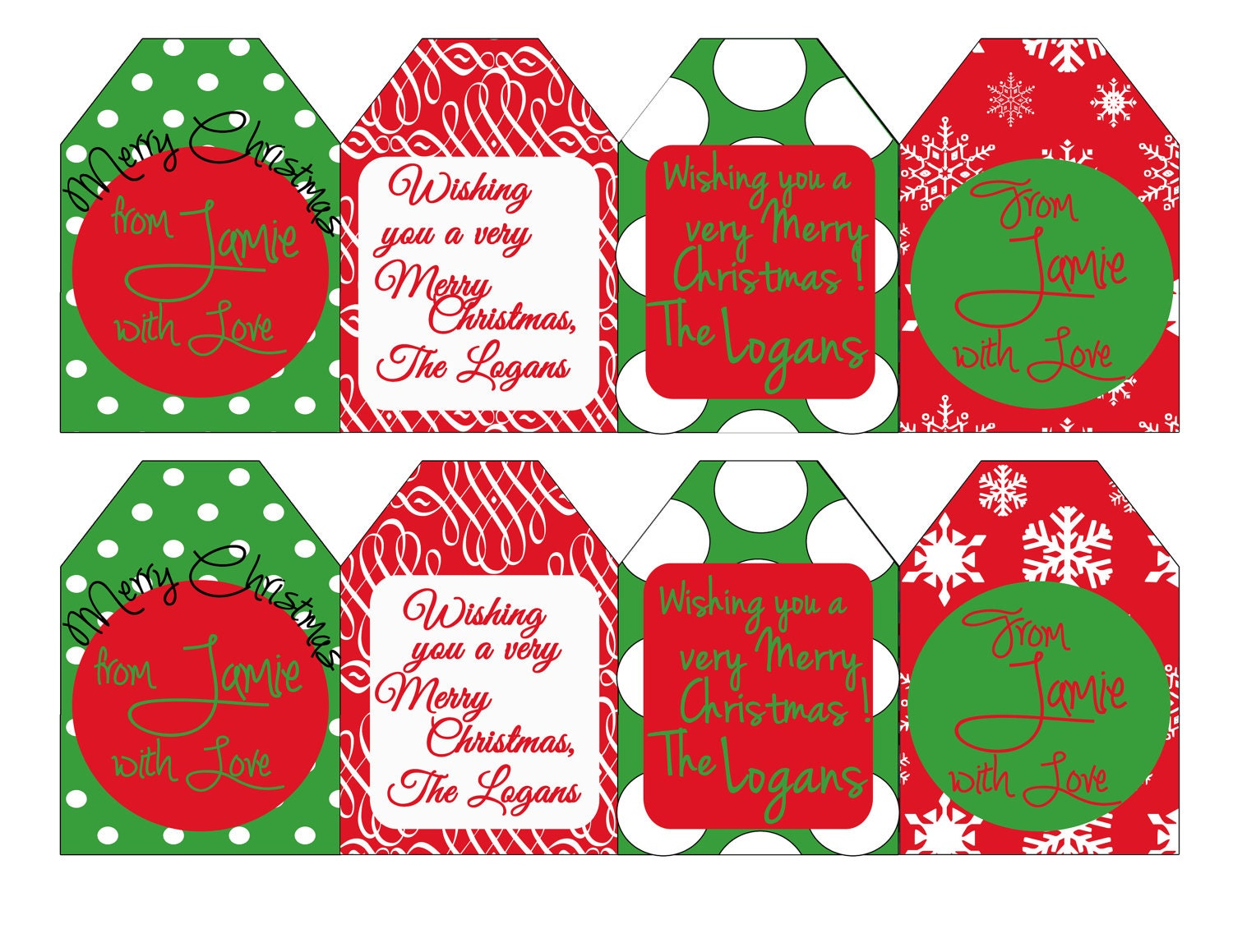 Christmas gift tags custom printable by SweetSarahDesigns on Etsy