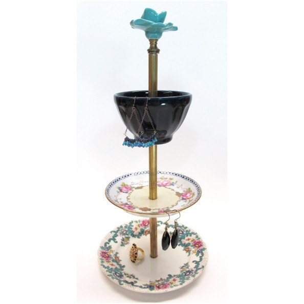 turquoise rose 3-tier antique jewelry stand