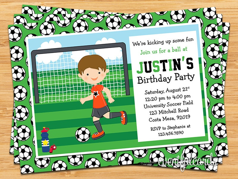 Boys Soccer Birthday Party Invitation by eventfulcards on Etsy