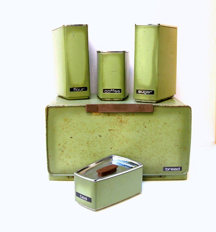 Vintage canisters set of 5 incl breadbox rusty green
