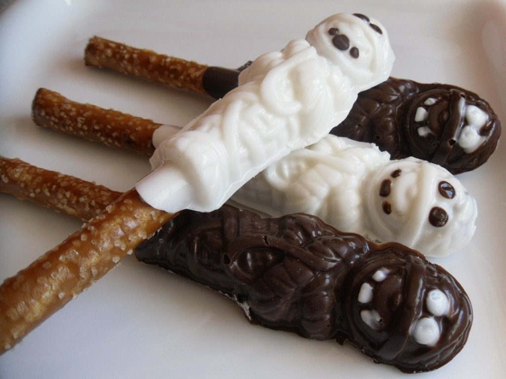 Chocolate Mummies Pretzel Sticks (Two Baker's Dozen)
