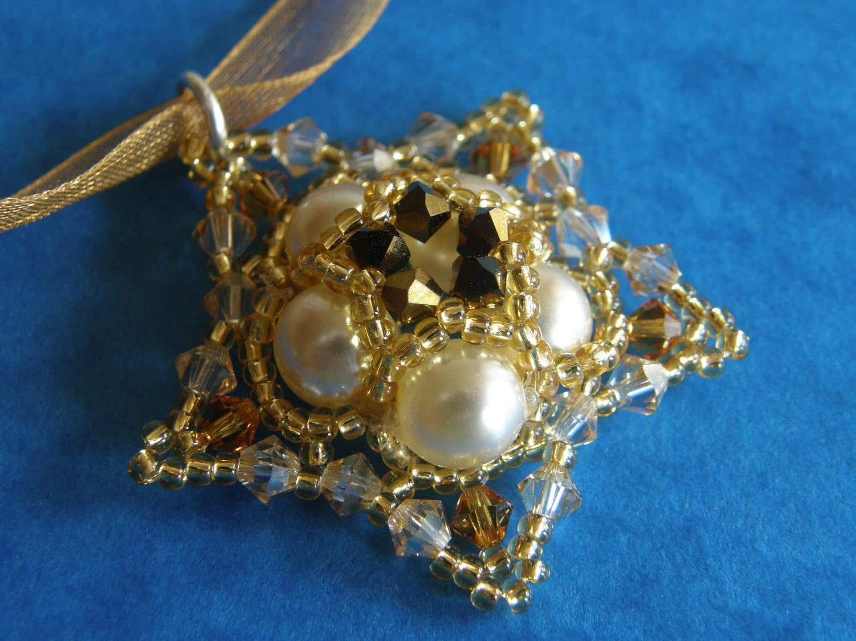 handmade, swarovski, bead, organza, brown, gold