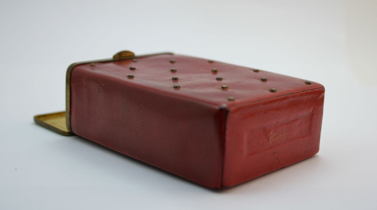 Burgundy Leather and Brass Hinged Case