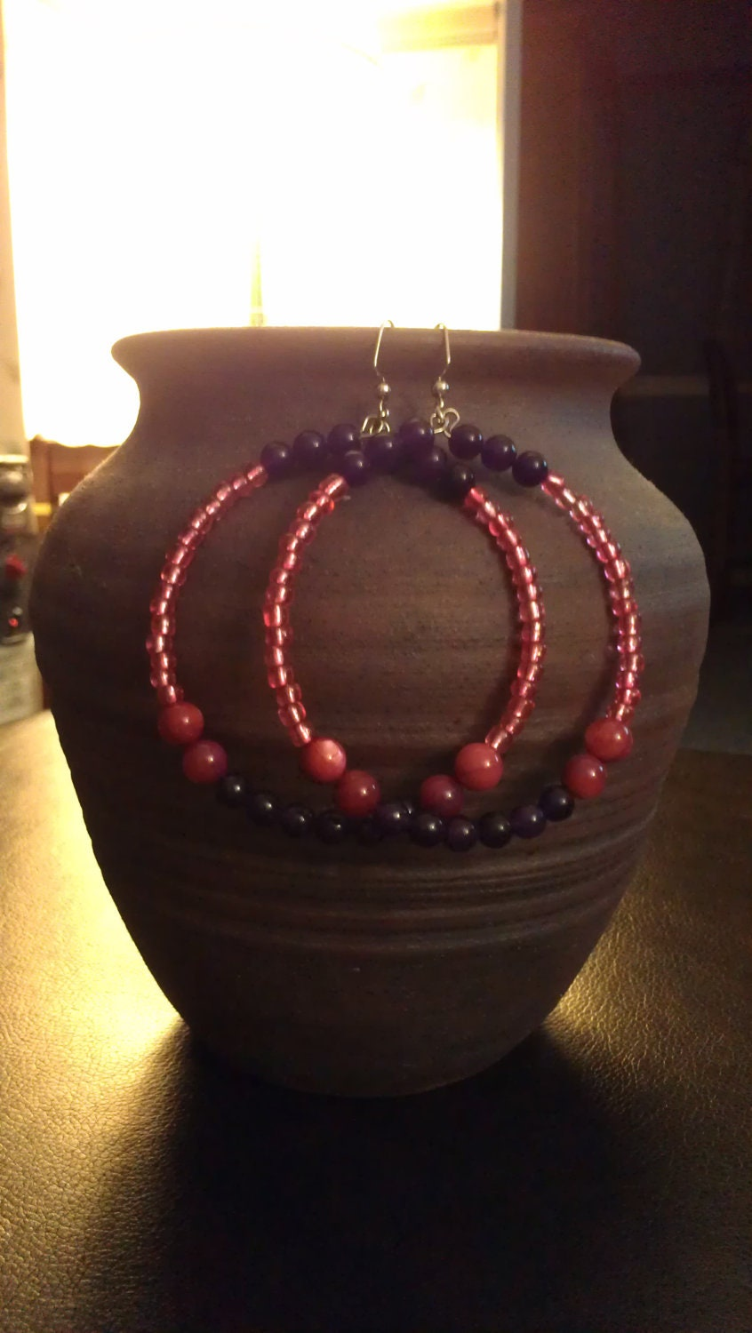"""Purple and Pink Beaded Hoop Earrings with Glass Beads: """"Sugar and Spice"""""""
