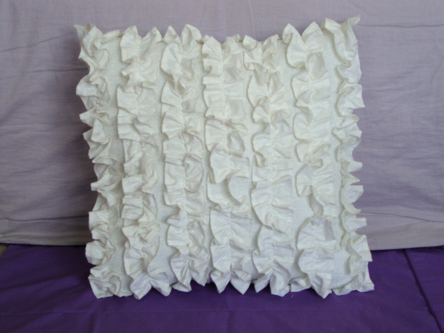 White Ruffled Pillow