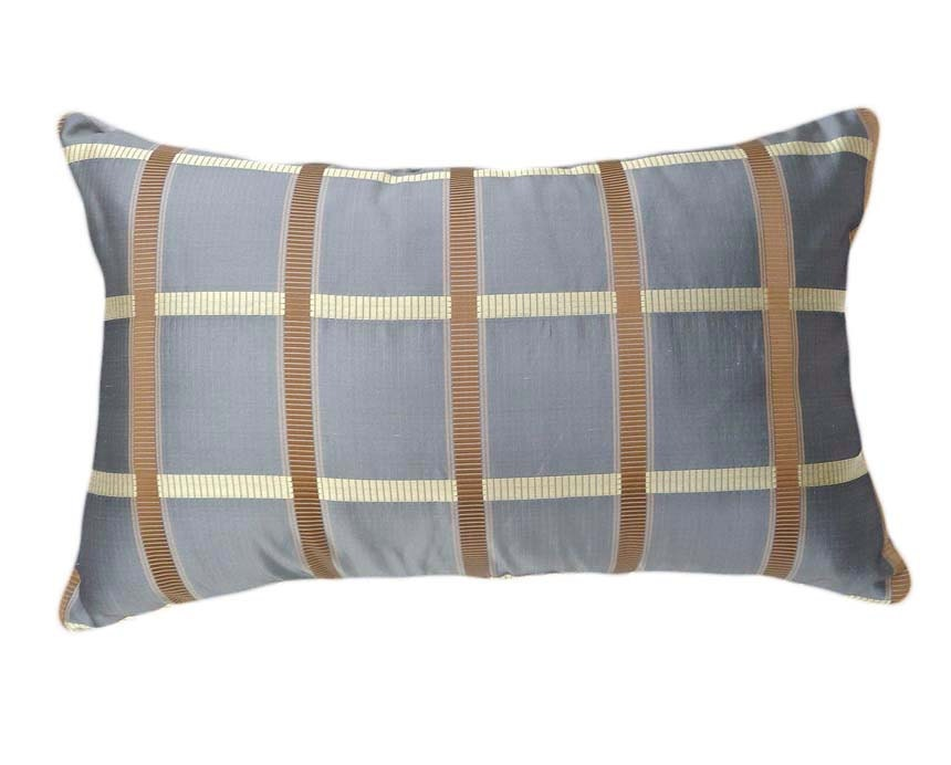Decorative Plaid Pillows : Gray Silk Decorative Throw Pillows Silver Gray by PillowThrowDecor