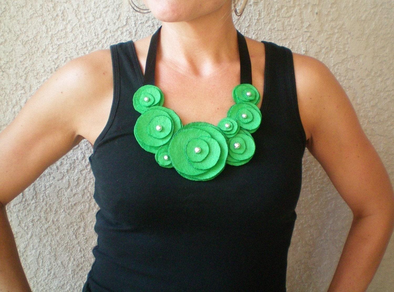 Flower Bib Necklace...felt...statement...Flower Swirl Necklace (green apple)