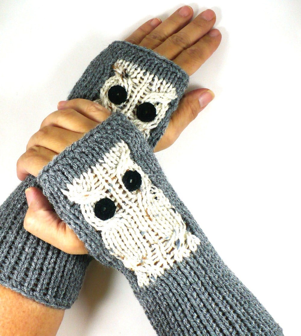 Free Crochet Pattern For Owl Hand Warmers : Knit Fingerless Gloves Knit Arm Warmers by Nothingbutstring