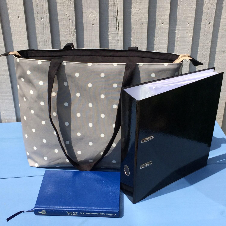 Book bag grey polka dot oilcloth unique work bag for her tote bag with pocket zipped large handbag water resistant overnight bag
