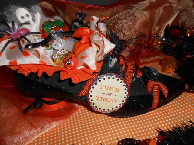 Altered Halloween Witch Shoe