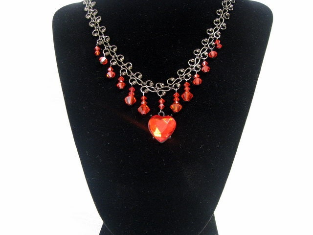 OOAK blood red heart choker