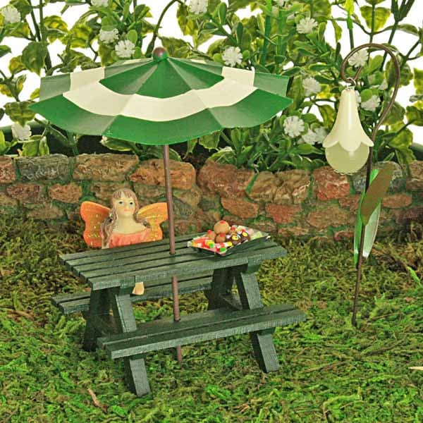 Woodland Green Picnic Bench Collection  Sun Umbrella  Glow In The Dark Flower Lantern  Fairy  Cake Tray   Fairy Garden Accessory