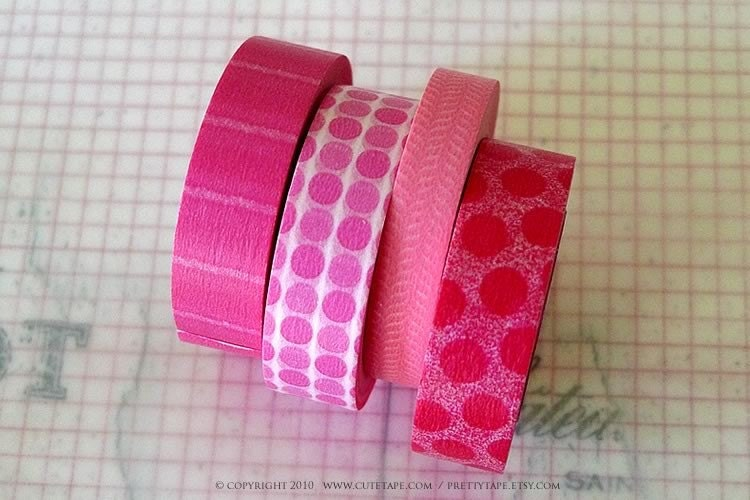 Japanese Masking Tape Pretty PINK Polka Dots Stripes Pattern 15mm - Set of 4