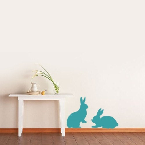 BUNNY Vinyl Decals Set Of 2 Kids Cute Wall Art Removable Stickers