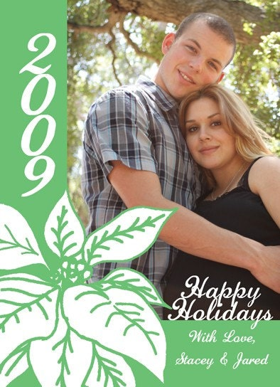 Pointsettia Holiday Photo Card by LoveLeighDay on Etsy