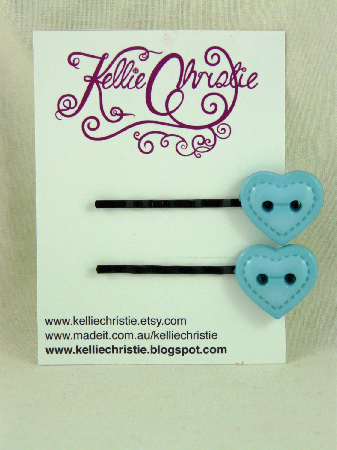 Blue Heart Button Hairpin Set