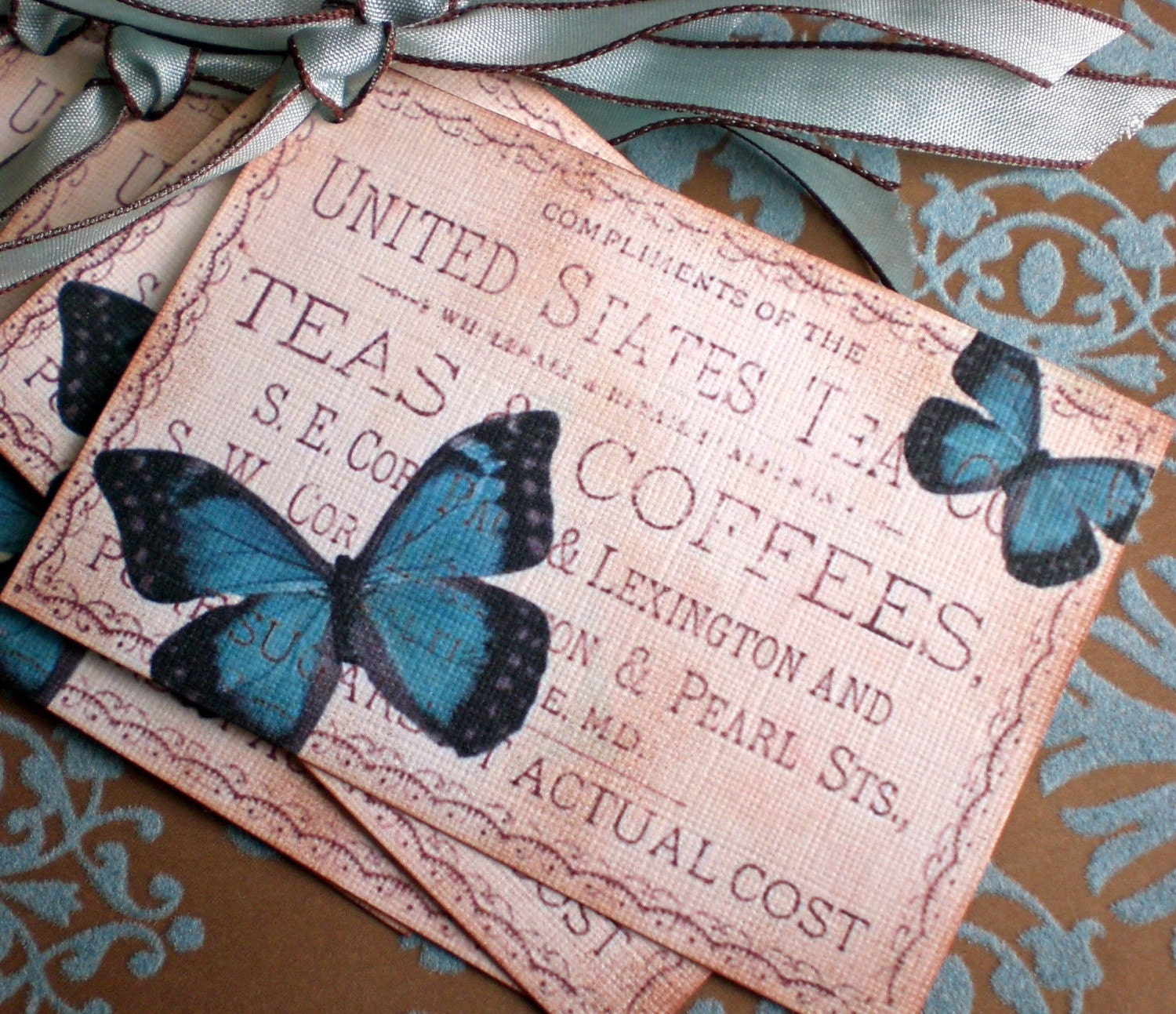 Butterflies, Tea and Coffee Tags - Set of 3