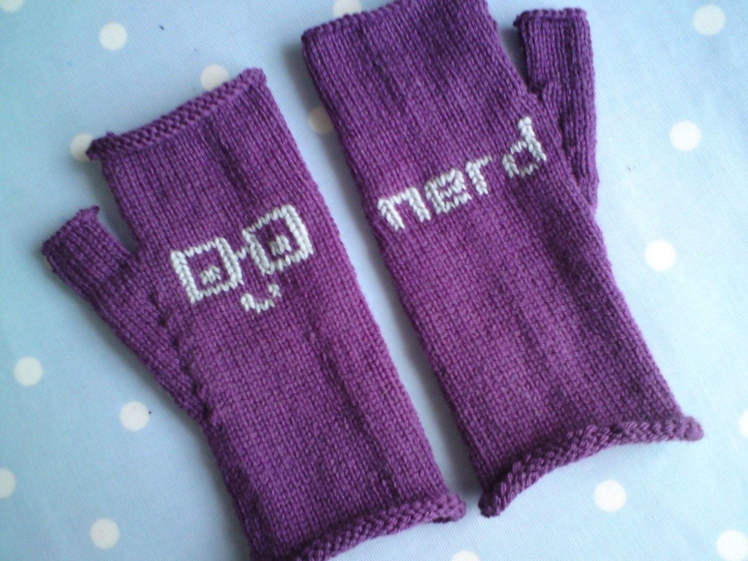 Purple Fingerless Mittens / Gloves - Nerd Emoticons for a little Geek Chic