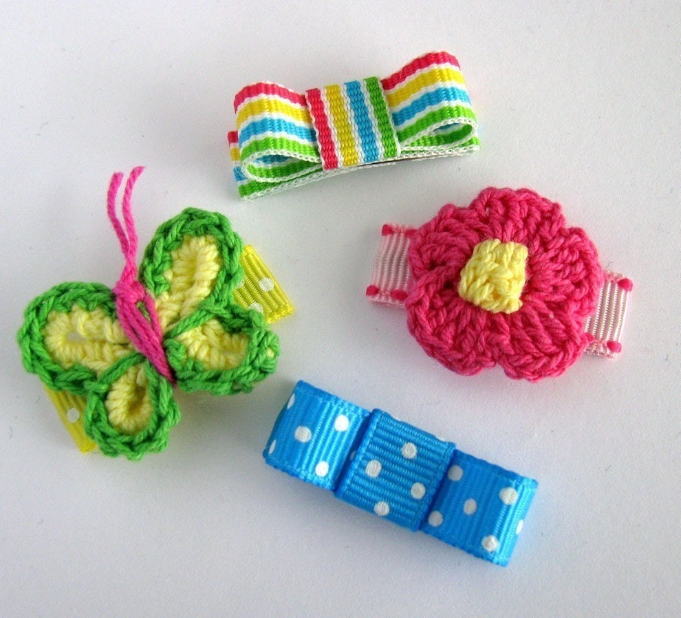4 No-Slip, Springtime Fun Mini Baby Snap Clip Set...Available on Alligator Clips