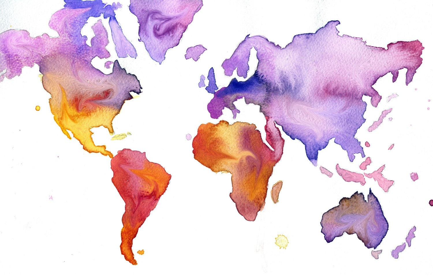 Watercolor World Map Illustration: Your World in Watercolor print