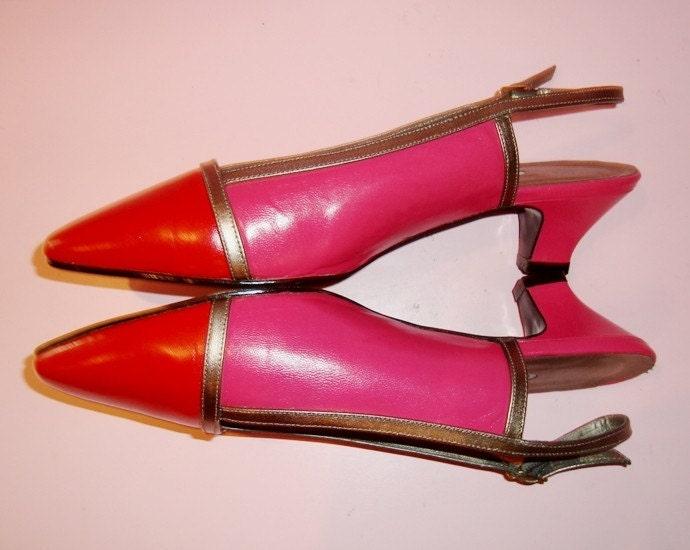 COLORBLOCK HOT PINK Leather n RED VTG 80s SLINGBACK  HEELS
