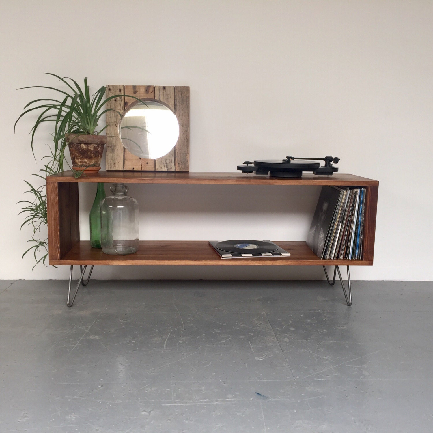 Stanton Large Record Player Stand Vinyl Storage Cabinet Console Coffee Table on Mid Century Hairpin Legs.